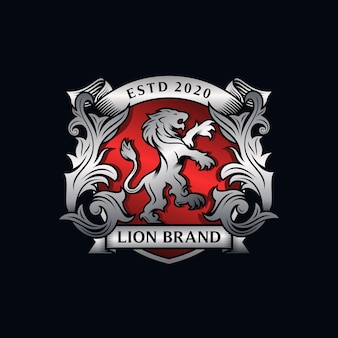 Heraldry lion brand logo design