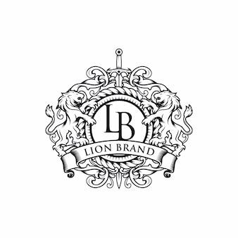 紋章のライオンのブランドロゴデザイン