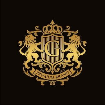 Геральдика лев дизайн шаблона роскошный герб логотип