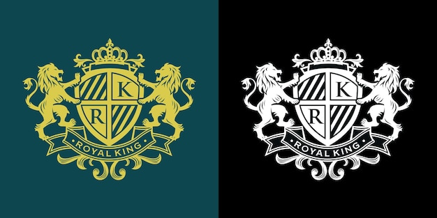 Heraldry lion luxury design template
