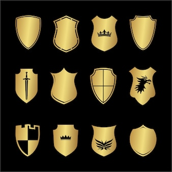 Heraldry medieval shield shapes set