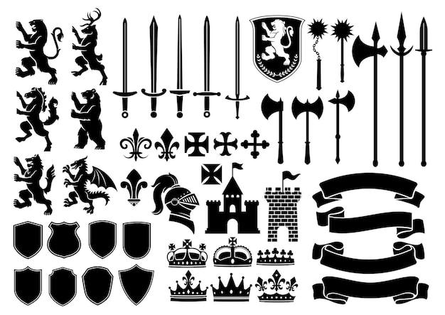 Heraldry silhouette mega set