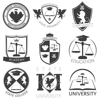 Heraldry of university black white emblems