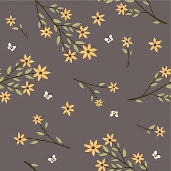 ハーブと花のパターン。夏のイラスト。