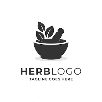 Herb logo concept with nature element.