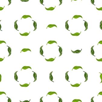 Травяной абстрактный бесшовный образец с геометрическим орнаментом из зеленых листьев мандарина
