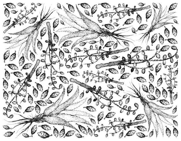 ハーブと植物の手描きイラスト背景