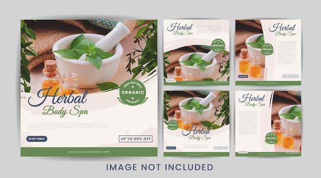 Набор шаблонов постов в социальных сетях herbal body spa