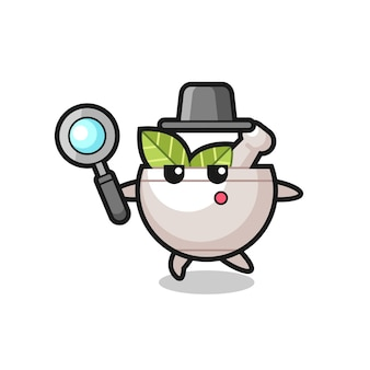 Herbal bowl cartoon character searching with a magnifying glass , cute style design for t shirt, sticker, logo element