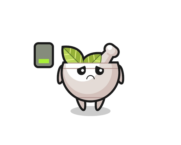 Herbal bowl mascot character doing a tired gesture , cute style design for t shirt, sticker, logo element