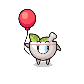 Herbal bowl mascot illustration is playing balloon , cute style design for t shirt, sticker, logo element