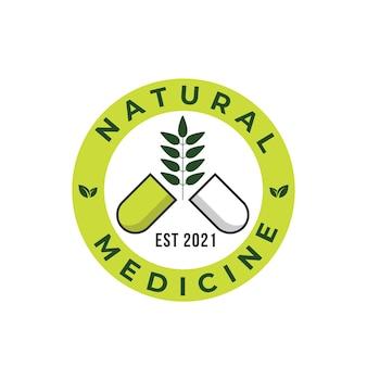 Шаблон дизайна логотипа травяной капсулы