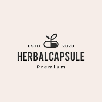 Herbal capsule medicine hipster vintage logo vector icon illustration