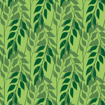 Herbal leaves seamless pattern on green background