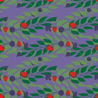 Herbal leaves and wild berries seamless pattern