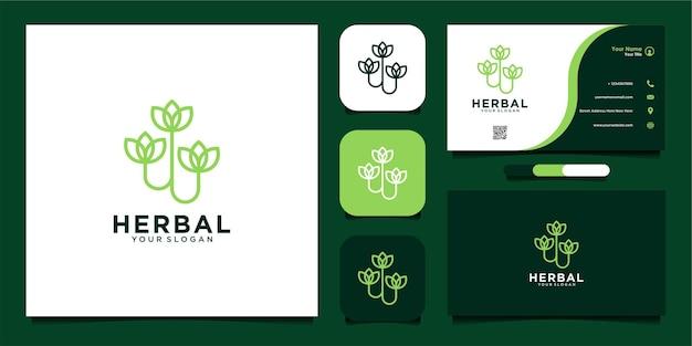 Травяной дизайн шаблона логотипа с цветочным стилем и визитной карточкой премиум векторы