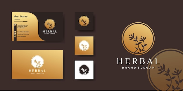 Herbal logo with golden circle concept and business card design premium vector