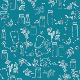 Herbal medicine seamless pattern