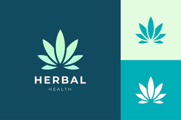 간단하고 깨끗한 대마초 또는 마리화나 잎의 허브 또는 건강 로고