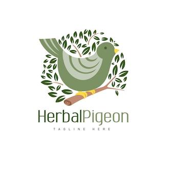 Шаблон логотипа herbal pigeon с реалистичным голубем