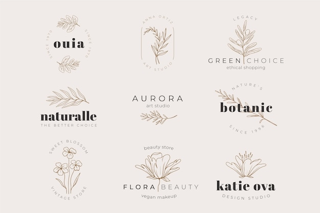 Herbal plant logo template collection