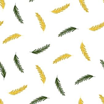 녹색과 노란색 로즈마리 모양의 허브 원활한 패턴입니다. 흰 바탕. 격리 된 인쇄입니다. 직물 디자인, 직물 인쇄, 포장, 덮개에 적합합니다. 벡터 일러스트 레이 션.