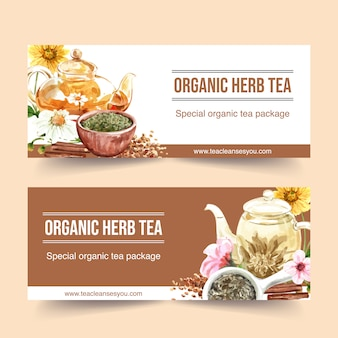 Herbal tea banner with chamomile, peach flower watercolor illustration.