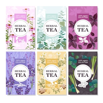 Herbal tea colored banners set