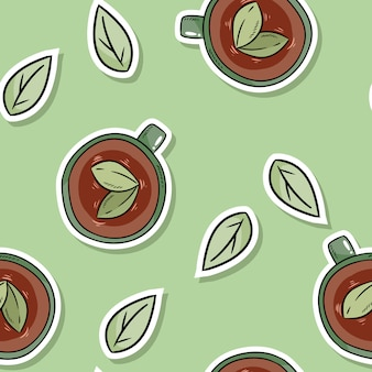 Herbal tea and leaves eco friendly seamless pattern. go green living
