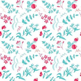 Herbal tea plants, flowers, branches seamless pattern