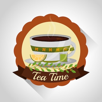 Herbal tea teacup on dish and flower decoration stamp