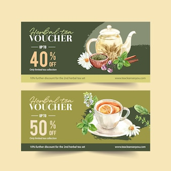 Herbal tea voucher with chamomile, basil, savory leaves watercolor illustration.