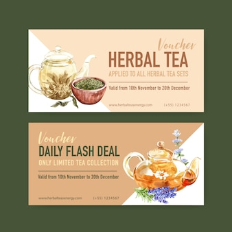 Herbal tea voucher with lavender, chamomile watercolor illustration.