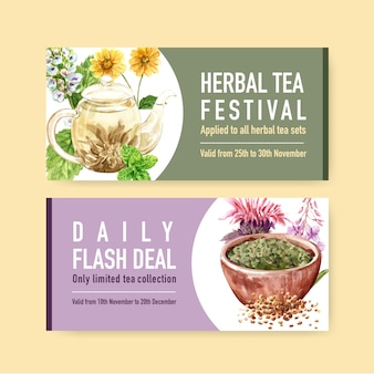 Herbal tea voucher with peppermint, chrysanthemum watercolor illustration.