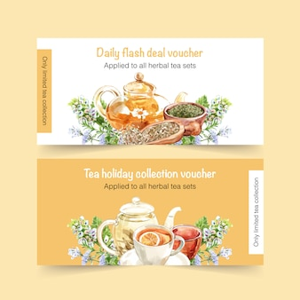 Herbal tea voucher with peppermint watercolor illustration.