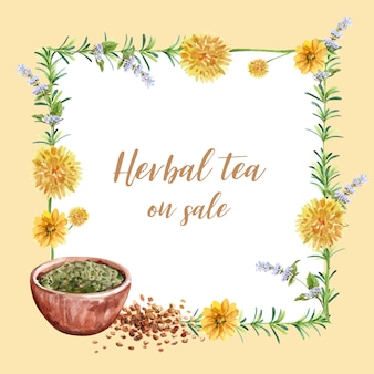 Herbal tea wreath with cushion flowers, tea bowl, statice watercolor illustration.