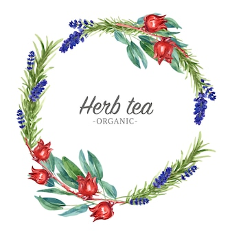 Herbal tea wreath with lavender, roselle, bay watercolor illustration.
