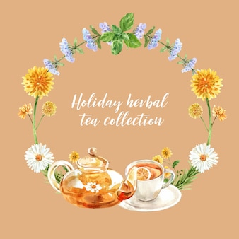 Herbal tea wreath with melissa, chrysanthemum, tea pot watercolor illustration.