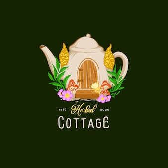 Иллюстрация коттеджа травяной чайник