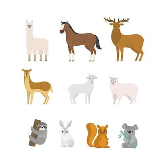 草食動物セット。森から哺乳類のコレクション。鹿とリス、馬と羊。図