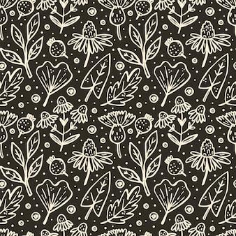 ハーブ、森林植物。自然な要素とのシームレスなパターン。