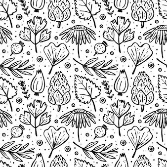 ハーブ、森林植物。シームレスなパターン