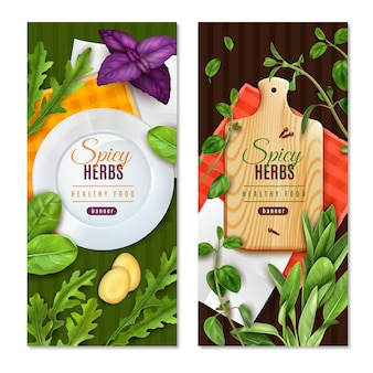 Herbs leafy salad greens spices 2 realistic healthy food banners with basil thyme spinach
