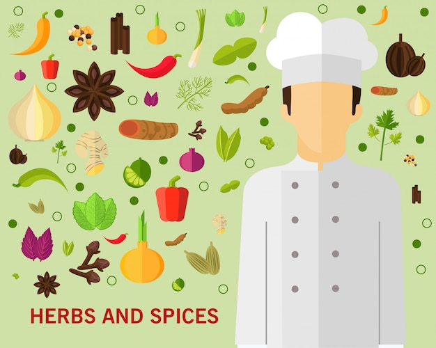 Herbs and spices concept background.