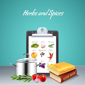 Herbs and spices realistic with cook book