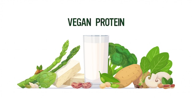 Herbs vegetables plant based tofu milk organic dairy free natural raw food composition vegan protein concept horizontal