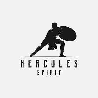 盾を保持しているヘラクレス、筋肉の神話ギリシャの戦士のシルエットのロゴデザインテンプレート