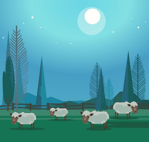 Herd of happy smiling sheep grazing in meadow