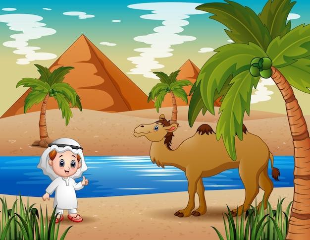 사막에서 낙타를 몰아