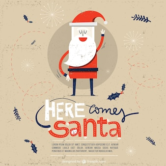 Here comes santa, card Premium Vector